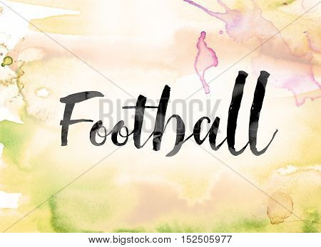 Football Colorful Watercolor And Ink Word Art