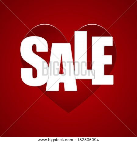 Red heart with an inscription - sale, on a red background.