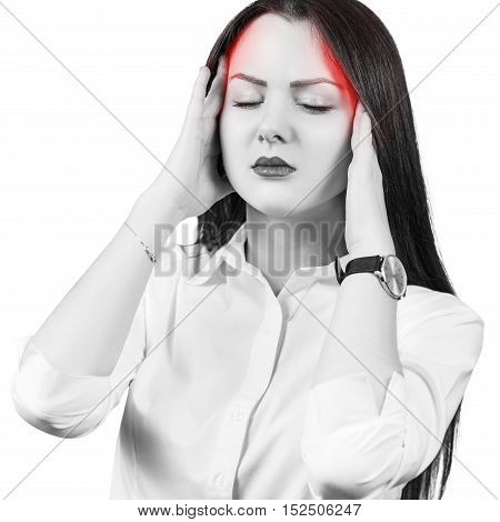 Young girl has a headache isolated on white background
