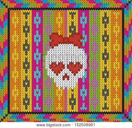 Pattern with skull and ethnic mexican elements. Day of the dead, a traditional holiday in Mexico. For postcard or celebration design. Traditional Latin American patterns and ornaments, colorful patterned skull. Wool knitted texture. Vector Illustration