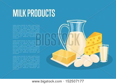 Milk products banner with dairy composition isolated on blue background, vector illustration with space for text. Healthy nutritious concept with butter, eggs, milk, yoghurt, cheese, kefir.