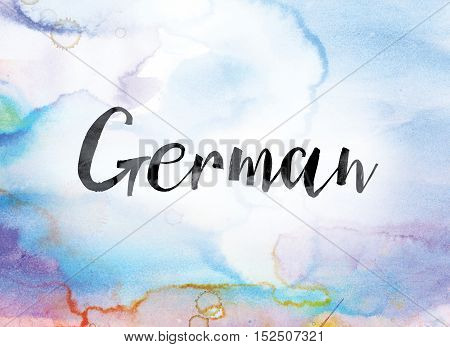 German Colorful Watercolor And Ink Word Art