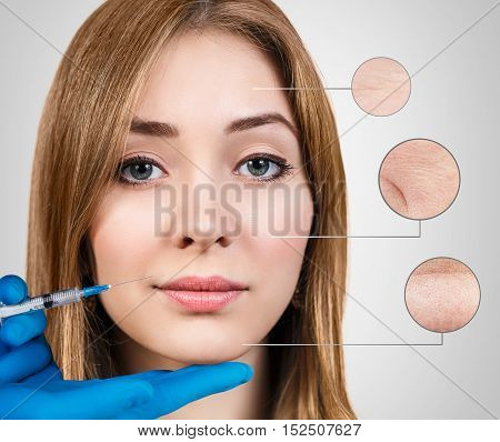 Cosmetic injection to the pretty female face with zoom circles. Over gray background