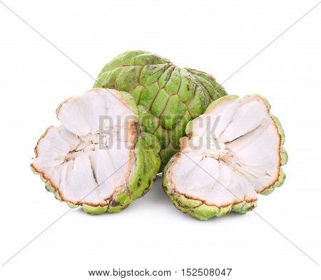 fresh green custard apple isolated on white background