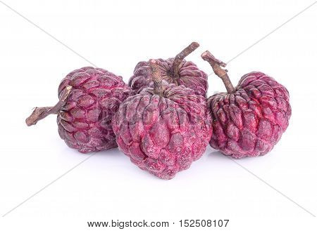 four purple custard apple isolated on white background