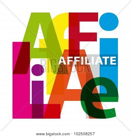 Vector affiliate. Isolated confused broken colorful text
