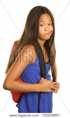 Cute Filipino Girl on a White background  wearing a tank top and a backpack. She has a funny expression that shows she is unhappy