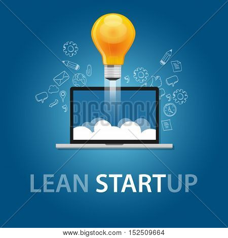 lean start-up product launch bulb idea technology company vector