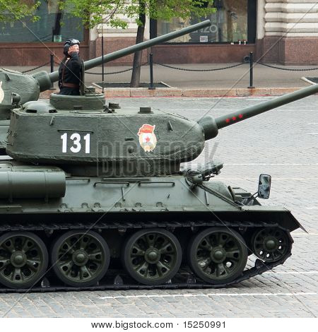 MOSCOW - MAY 6: Tank T34, Dress rehearsal of Military Parade on 65th anniversary of Victory in Great Patriotic War on May 6, 2010 on Red Square in Moscow, Russia