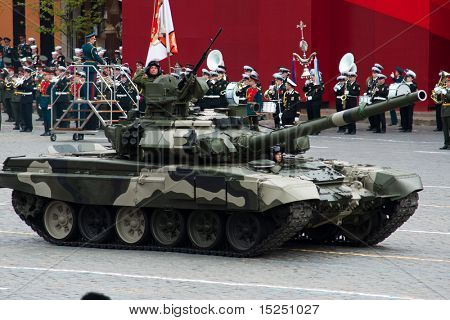 MOSCOW - MAY 6: Main battle tank T-90. Dress rehearsal of Military Parade on 65th anniversary of Victory in Great Patriotic War on May 6, 2010 on Red Square in Moscow, Russia