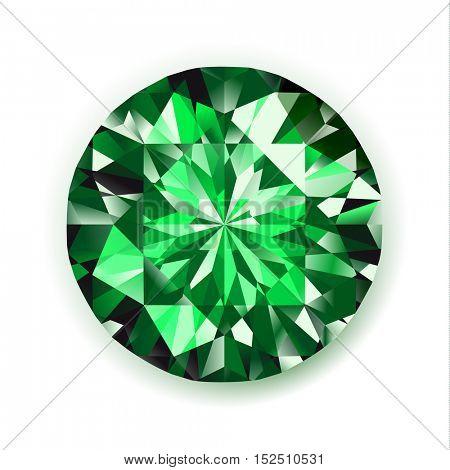Emerald - vector diamond realistic gemstone illustration