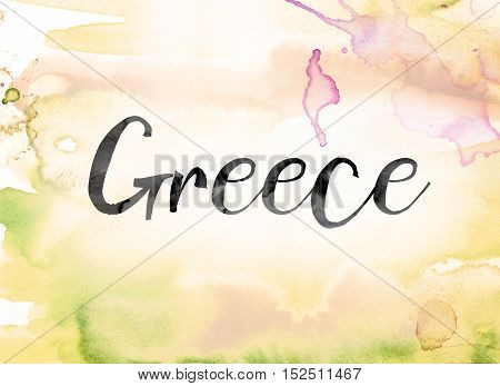 Greece Colorful Watercolor And Ink Word Art