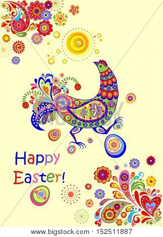 Decorative easter card with funny hen