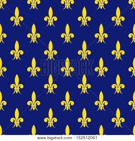 Golden fleur de lis royal lily vector seamless pattern. Floral flower background illustration