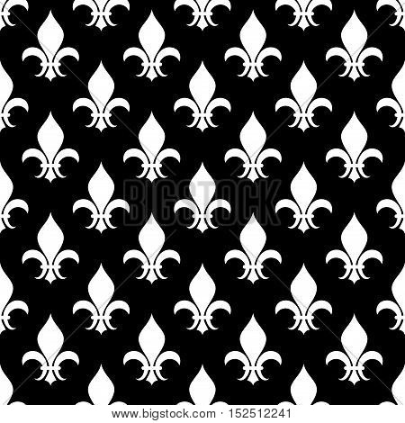 Vector fleur de lis seamless pattern in black and white. Wallpaper design decoration illustration