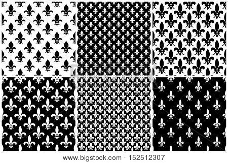Vector fleur de lis seamless patterns set in black and white color. Illustration of background collection