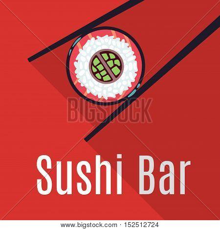Red Japanese sushi bar food logo template. Restaurant logotype traditional, vector illustration
