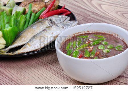 Close up of spicy shrimp paste dip as