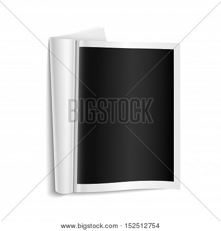 Blank open magazine template on white background with soft shadows. Vector illustration.