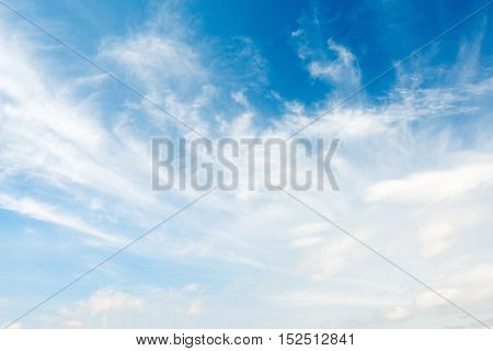 Sunny blue sky background with white clouds.