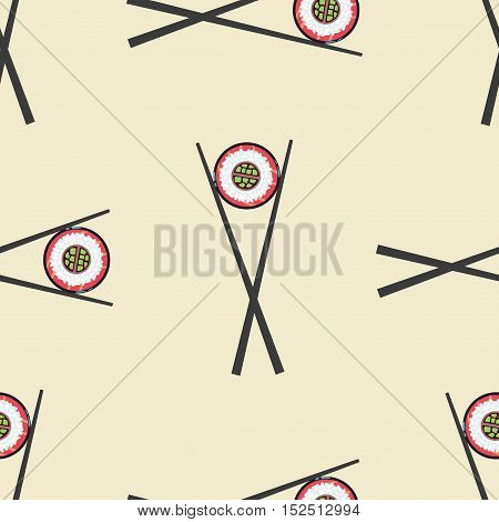 Sushi and chopsticks vector seamless pattern. Background with roll illustration