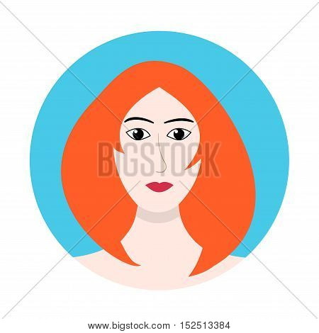 Red-haired woman face icon, flat design. Redhead girl avatar. Ginger female character user avatar, cartoon style.