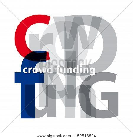 Vector crowd funding. Isolated confused broken colorful text