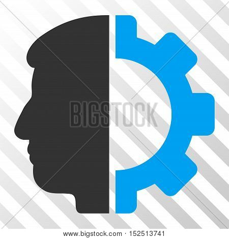 Blue And Gray Android Head interface toolbar icon. Vector pictograph style is a flat bicolor symbol on diagonal hatch transparent background.