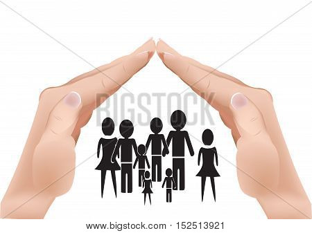 hands in the shape of a roof protects a family
