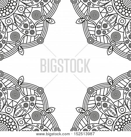 Oriental ornamental frame for coloring book pages. Vector illustration.