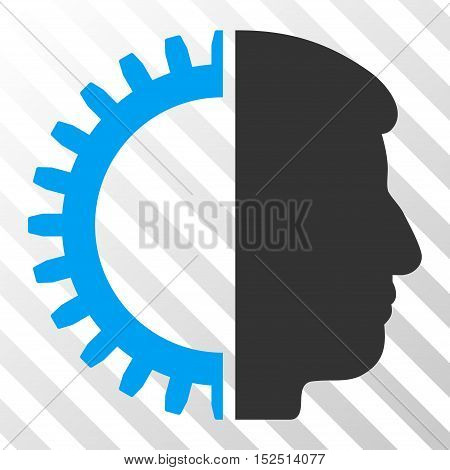 Blue And Gray Android Head interface icon. Vector pictograph style is a flat bicolor symbol on diagonal hatch transparent background.