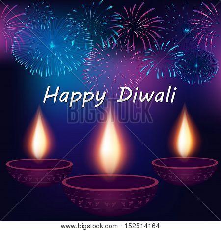 Festival of Lights Happy Diwali Celebration. Elegant Traditional Lamps and fireworks on background