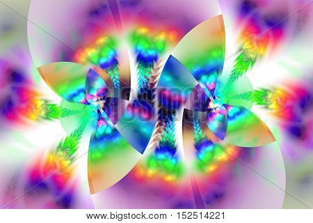 Abstract rainbow floral ornament on white background. Psychedelic fractal design for wallpapers posters or t-shirts. Digital art. 3D rendering.