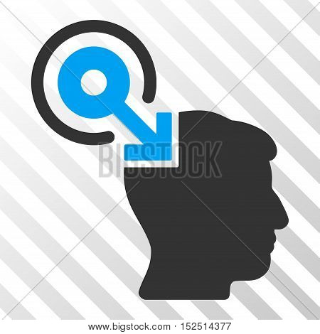Blue And Gray Brain Interface Plug-In interface toolbar pictogram. Vector pictograph style is a flat bicolor symbol on diagonal hatch transparent background.