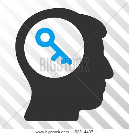 Blue And Gray Brain Key toolbar pictogram. Vector pictogram style is a flat bicolor symbol on diagonal hatch transparent background.