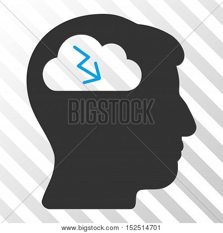 Blue And Gray Brainstorming interface icon. Vector pictograph style is a flat bicolor symbol on diagonal hatch transparent background.
