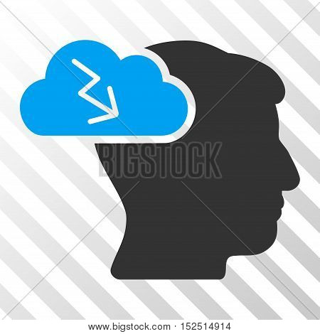 Blue And Gray Brainstorming toolbar icon. Vector pictograph style is a flat bicolor symbol on diagonal hatch transparent background.