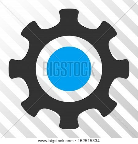 Blue And Gray Cogwheel toolbar icon. Vector pictogram style is a flat bicolor symbol on diagonal hatch transparent background.