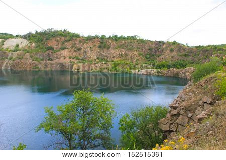 Lake at an abandoned quarry on summer