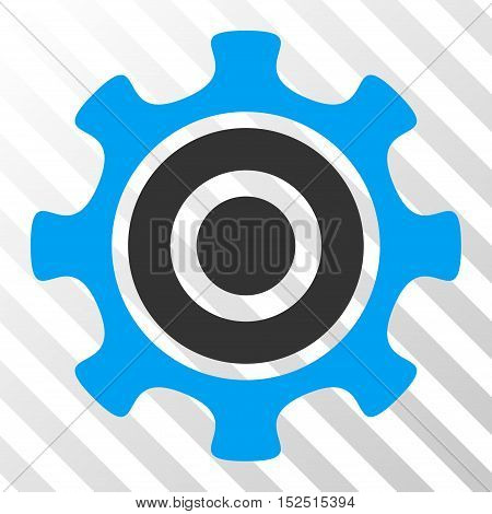 Blue And Gray Cogwheel interface icon. Vector pictogram style is a flat bicolor symbol on diagonal hatch transparent background.