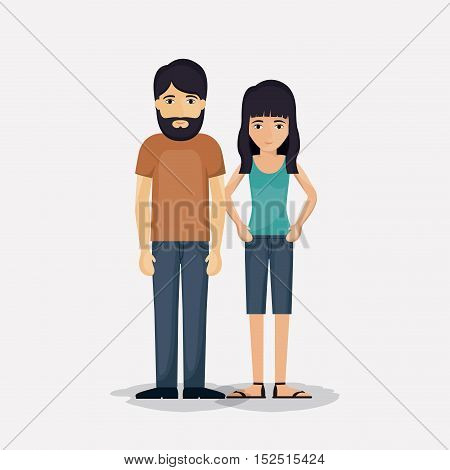 Couple of woman and man cartoon icon. Relationship family romance and love theme. Colorful design. Vector illustration