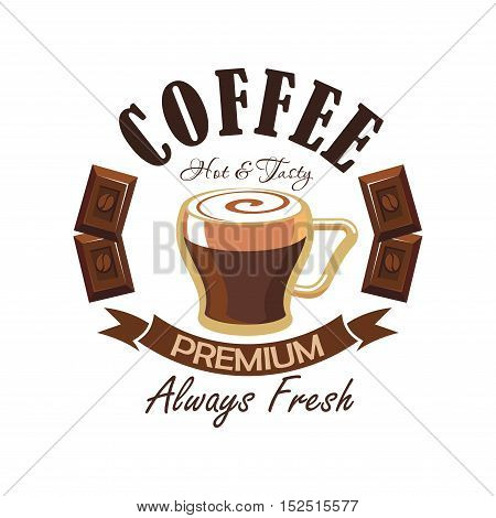 Coffee shop isolated symbol with cup of espresso, decorated with caramel milk foam, chocolate bars and curved ribbon banner with text Premium