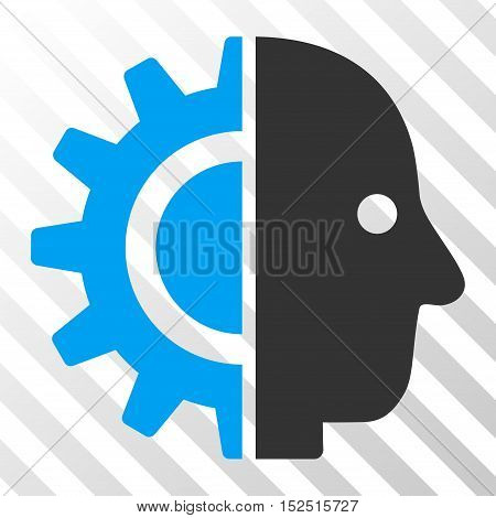 Blue And Gray Cyborg Head toolbar icon. Vector pictogram style is a flat bicolor symbol on diagonal hatch transparent background.