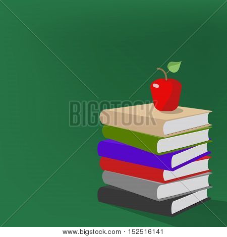 Stack of books with an apple on the background of the school board. Vector