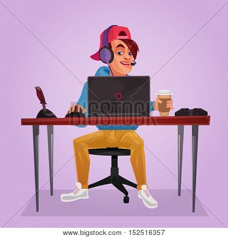 Vector illustration of a teenager sitting at a laptop and plays the game