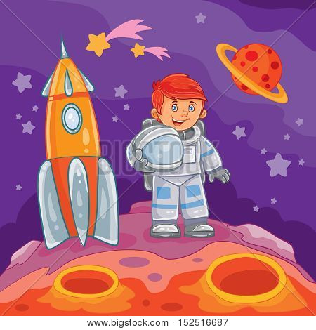 Vector illustration of a little boy astronaut standing next to a rocket