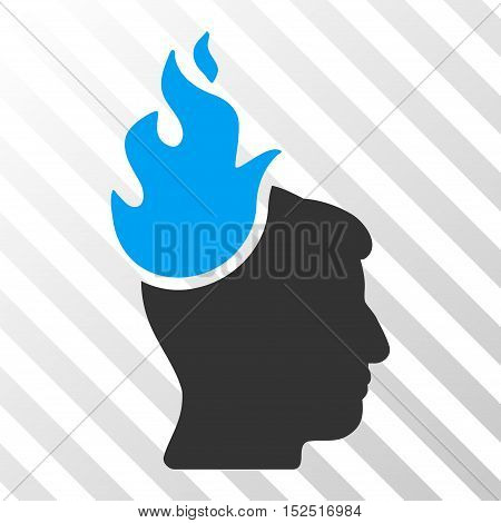 Blue And Gray Fired Head interface toolbar icon. Vector pictograph style is a flat bicolor symbol on diagonal hatch transparent background.