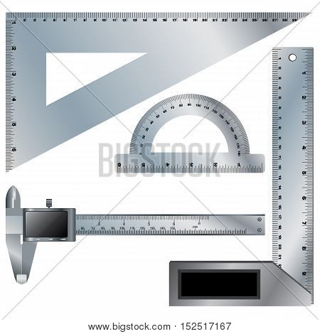 Set of ruler and Vernier caliper digital tool on white background.