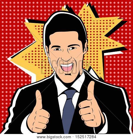 Successful businessman gives thumb up in vintage pop art comics style. Likes and positive feel. Gesture good, agree and smile, finger agreement, vector illustration.