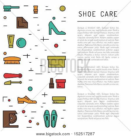 Set icons items for Shoe care. Elements for this service Shoe Shine. Outline Elements for shoe care